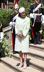 Doria Ragland, mother of the bride, outside St George's Chapel in Windsor Castle after the wedding of Prince Harry and Meghan Markle.