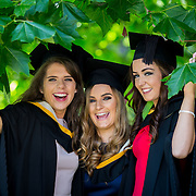 """25.08.2016          <br />  Faculty of Business, Kemmy Business School graduations at the University of Limerick today. <br /> <br /> Attending the conferring were Bachelor of Business Studies graduates, Josephine Farrell, Craughwell Co. Galway, Amanda Hannon, Dunmore Co. Galway and Kellie Quinn, Lisdowney Co. Kilkenny. Picture: Alan Place<br /> <br /> <br /> As the University of Limerick commences four days of conferring ceremonies which will see 2568 students graduate, including 50 PhD graduates, UL President, Professor Don Barry highlighted the continued demand for UL graduates by employers; """"Traditionally UL's Graduate Employment figures trend well above the national average. Despite the challenging environment, UL's graduate employment rate for 2015 primary degree-holders is now 14% higher than the HEA's most recently-available national average figure which is 58% for 2014"""". The survey of UL's 2015 graduates showed that 92% are either employed or pursuing further study."""" Picture: Alan Place"""
