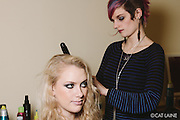 PROVIDENCE, RI - FEB 13: Anna Dunn styles Jessie Kentworthy for the Alistair Archer show during StyleWeek NorthEast on February 13, 2015. (Photo by Cat Laine)