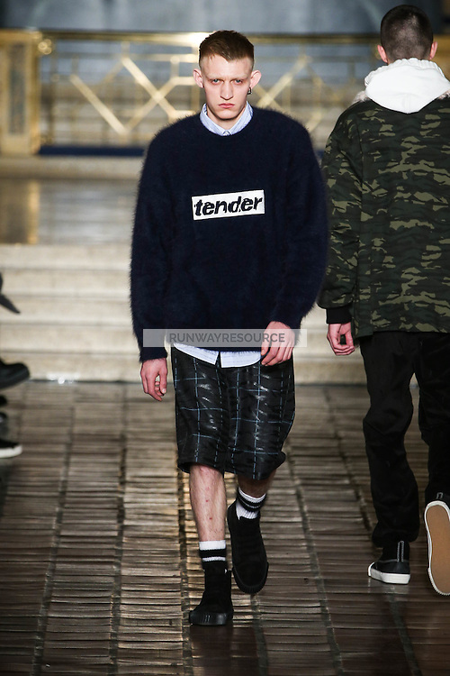 A model walks the runway wearing Alexander Wang Fall 2016 during New York Fashion Week on February 13, 2016