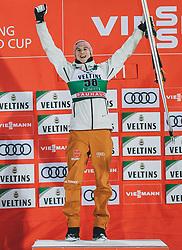 01.03.2020, Salpausselkae Hill, Lahti, FIN, FIS Weltcup Ski Sprung, Herren, Siegerehrung, im Bild Sieger Karl Geiger (GER) // Winner Karl Geiger of Germany during the winner ceremony for the men's ski jumping competition of FIS Ski Jumping World Cup at the Salpausselkae Hill in Lahti, Finland on 2020/03/01. EXPA Pictures © 2020, PhotoCredit: EXPA/ JFK