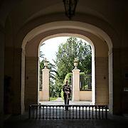 Corazziere nel parco del Quirinale..Cuirassier in the Quirinale Garden