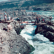 1212-04. Indians fishing in Downes channel at Celilo Falls