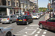 Traffic congestion in town centre of Harrogate, Yorkshire, England, UK