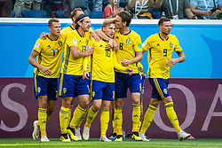 July 3, 2018 - St Petersburg, RUSSIA - 180703 Emil Forsberg of Sweden celebrates with team mates after scoring 1-0 during the FIFA World Cup round of 16 match between Sweden and Switzerland on July 3, 2018 in St Petersburg..Photo: Joel Marklund / BILDBYRÃ…N / kod JM / 87748 (Credit Image: © Joel Marklund/Bildbyran via ZUMA Press)