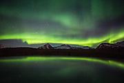 Lögregan, Iceland, 2 Apr 2019, Aurora Borealis above the Vatnajökull glacier