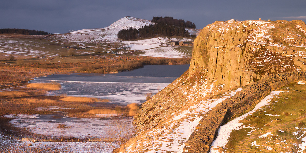 The view along Hadrian's Wall at Crag Lough, near Milecastle 39.
