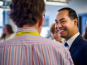 15 APRIL 2019 - DES MOINES, IOWA: JULIÁN CASTRO talks to BEN MALLOY, a carpentry teacher, (back to camera) during Castro's visit to the Central Campus Skilled Trades Alliance at the Des Moines Public School's Central Campus Monday. Castro is on his third visit to Iowa since declaring his candidacy for the Democratic ticket of the US Presidency. Casto talked to students and administrators about skilled trades education and toured the campus. Iowa traditionally hosts the the first selection event of the presidential election cycle. The Iowa Caucuses will be on Feb. 3, 2020.                PHOTO BY JACK KURTZ