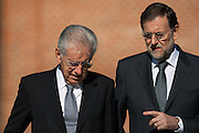 The Italy Prime Minister Mario Monti arrives to Moncloa Palace