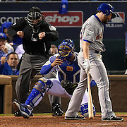 Kansas City Royals starting pitcher Johnny Cueto (47) strikes out New York Mets second baseman Daniel Murphy (28) in the sixth during Wednesday's World Series baseball game on October 28, 2015 at at the Kauffman Stadium in Kansas City, Mo.