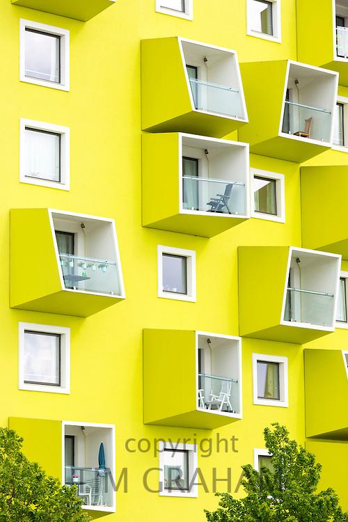 Bright colour new stylish apartments in Orestad new residential development area of Copenhagen, Denmark