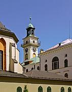 Po lewej dach kościoła św. Marii Magdaleny, po prawej dachy i wieża kościoła św. Krzyża w Cieszynie, Polska<br /> On the left - the roof of St. Mary Magdalene, on the right - the roofs and tower of the church of St. Cross in Cieszyn, Poland