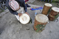 August 9, 2016 - Kathmandu, NE, Nepal - A Nepalese man arrange traditional instuments before performance during the International Day of the 22nd World Indigenous Day celebrated in Kathmandu, Nepal, 09 August 2016. At the call of the United Nations, on August 9 every year the International Day of the World's Indigenous People observed by organizing different programs. (Credit Image: © Narayan Maharjan/Pacific Press via ZUMA Wire)