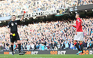 Referee Michael Oliver sends off Chris Smalling of Manchester United - Barclays Premier League - Manchester City vs Manchester Utd - Etihad Stadium - Manchester - England - 2nd November 2014  - Picture David Klein/Sportimage