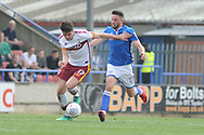 Bradford City midfielder Alex Gilliead (17), on loan from Newcastle United,  and Rochdale Midfielder, Bradden Inman (17)  during the EFL Sky Bet League 1 match between Rochdale and Bradford City at Spotland, Rochdale, England on 21 April 2018. Picture by Mark Pollitt.