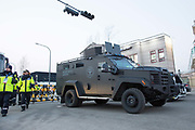 A swat vehicle outside the Pyeongchang Olympic Stadium ahead of the opening ceremony for the 2018 Winter Olympic Games on 9th February 2018 in Pyeongchang, South Korea