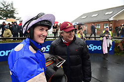 Western Ruler trainer Mouse Morris and jockey Rachael Blackmore after winning the Farmhouse Foods Novice Handicap Hurdle during BoyleSports Irish Grand National Day of the 2018 Easter Festival at Fairyhouse Racecourse, Ratoath, Co. Meath.