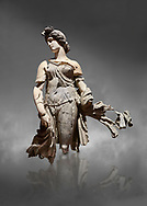 Roman statue of a Dancing Woman . Marble. Perge. 2nd century AD. Inv no 10.29.81 . Antalya Archaeology Museum; Turkey.  Against a grey background .<br /> <br /> If you prefer to buy from our ALAMY STOCK LIBRARY page at https://www.alamy.com/portfolio/paul-williams-funkystock/greco-roman-sculptures.html . Type -    Antalya     - into LOWER SEARCH WITHIN GALLERY box - Refine search by adding a subject, place, background colour, museum etc.<br /> <br /> Visit our ROMAN WORLD PHOTO COLLECTIONS for more photos to download or buy as wall art prints https://funkystock.photoshelter.com/gallery-collection/The-Romans-Art-Artefacts-Antiquities-Historic-Sites-Pictures-Images/C0000r2uLJJo9_s0