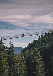 """THEMENBILD - Personen stehen auf der Golden Gate Bridge der Alpen, die zum Baumzipfelweg führt. Die 200 Meter lange Brücke überspannt den Talschluss in einer Höhe von 42 Metern. Sie verbindet das """"Festland"""" mit dem 1 km langen Baumzipfelweg, dem höchstgelegenen Wipfelwanderweg Europas, welcher auf 11 Türmen in 30 m Höhe erbaut wurde, aufgenommen am 13. Oktober 2019 in Saalbach Hinterglemm, Oesterreich // People walk over the Golden Gate Bridge of the Alps, which leads to the treetop path. The 200 meter long bridge spans the end of the valley at a height of 42 meters. It connects the """"mainland"""" with the 1 km long Baumzipfelweg, the highest treetop hiking trail in Europe, which was built on 11 towers at a height of 30 metres, in Saalbach Hinterglemm in Austria on 2019/10/13. EXPA Pictures © 2019, PhotoCredit: EXPA/Stefanie Oberhauser"""