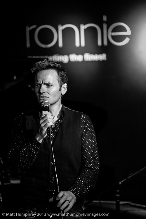 Joe Stilgoe and band during rehearsal for BBC Radio 2 pilot of 'Joe Stilgoe: One Night Stand' at Ronnie Scott's Jazz Club, London, February 2013. Mandatory credit for all image use online or printed. Copyright and credit to © Matt Humphrey. All rights reserved.
