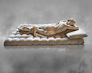 """Sleeping Hermaphroditus, The Borghese Hermaphrodite.  A Life size ancient 2nd century AD Roman statue sculpted in Greek Marble and found in the grounds of Santa Maria della Vittoria, near the Baths of Diocletian, Rome. It was added to the Borghese Collection by Cardinal Scipione Borghese, in the 17th century and was named the """"Borghese Hermaphroditus"""". It was later sold to the occupying French and was removed it to The Louvre. Hermaphrodite, son of Hermes and Aphrodite had repels the advances of the nymph Salmacis. However, she got Zeus as their two bodies are united in a bisexual being. The Sleeping Hermaphroditus has been described as a good early Imperial Roman copy of a bronze original by the later of the two Hellenistic sculptors named Polycles (150 BC) the original bronze was mentioned in Pliny's Natural History. In 1619  Bernini sculpted the mattress on which the ancient marble of Hermaphrodite lies. Louvre Museum, Paris .<br /> <br /> If you prefer to buy from our ALAMY STOCK LIBRARY page at https://www.alamy.com/portfolio/paul-williams-funkystock/greco-roman-sculptures.html- Type -    Louvre    - into LOWER SEARCH WITHIN GALLERY box - Refine search by adding a subject, place, background colour,etc.<br /> <br /> Visit our CLASSICAL WORLD HISTORIC SITES PHOTO COLLECTIONS for more photos to download or buy as wall art prints https://funkystock.photoshelter.com/gallery-collection/The-Romans-Art-Artefacts-Antiquities-Historic-Sites-Pictures-Images/C0000r2uLJJo9_s0c"""