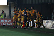 Ben Tozer of Newport county © celebrates with all his teammates after he scores his teams 1st goal.  EFL Skybet football league two match, Newport county v Barnet at Rodney Parade in Newport, South Wales on Tuesday 25th October 2016.<br /> pic by Andrew Orchard, Andrew Orchard sports photography.