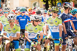 Ziga Horvat, Tadej Pogacar and Jaka Primozic of Slovenia during the Men Under 23 Road Race 179.9km Race from Kufstein to Innsbruck 582m at the 91st UCI Road World Championships 2018 / RR / RWC / on September 28, 2018 in Innsbruck, Austria.  Photo by Vid Ponikvar / Sportida