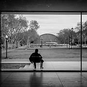 Barcelona Pavilion silhouette, Barcelona, Spain (December 2006)