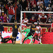 Mike Grella, New York Red Bulls has his shot blocked by his own team mate Sacha Kljestan on the goal line during the New York Red Bulls Vs Houston Dynamo, Major League Soccer regular season match at Red Bull Arena, Harrison, New Jersey. USA. 19th March 2016. Photo Tim Clayton