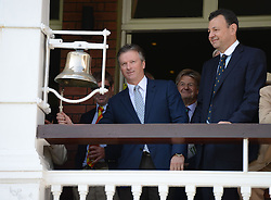 © Licensed to London News Pictures. 18/07/2013. Steve Waugh, former Australia captain rings the match bell. on day one of  Second Test England v Australia The Ashes Lord's Cricket Ground, London 18/07/2013<br /> . Photo credit: Mike King/LNP
