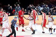 Esultanza Olimpia Milano, EA7 Emporio Armani Milano vs Consultinvest Pesaro, LBA serie A 14^ giornata stagione 2016/2017, Mediolanum Forum Milano 2 gennaio 2017