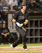 CHICAGO - AUGUST 23:  Matt Skole #32 of the Chicago White Sox bats against the Texas Rangers during Players Weekend on August 23, 2019 at Guaranteed Rate Field in Chicago, Illinois.  (Photo by Ron Vesely)  Subject:   Matt Skole