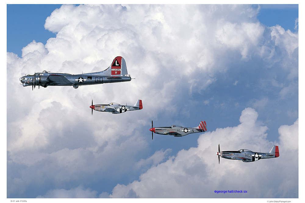 B-17 flying with P-51Ds