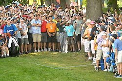 August 9, 2018 - St. Louis, Missouri, U.S. - ST. LOUIS, MO - AUGUST 09: The overflow crowd steals back to let Tiger Woods hit a shot from the rough on the #15 hole during the first round of the PGA Championship on August 09, 2018, at Bellerive Country Club, St. Louis, MO.  (Photo by Keith Gillett/Icon Sportswire) (Credit Image: © Keith Gillett/Icon SMI via ZUMA Press)
