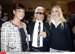 © Serge Arnal/ABACA. 43193-12. Paris-France, 10/03/2003. Nadja Auermann, Linda Evangelista and Karl Lagerfeld after the presentation of Chanel 2003-2004 Fall-Winter Ready-to-Wear collection .