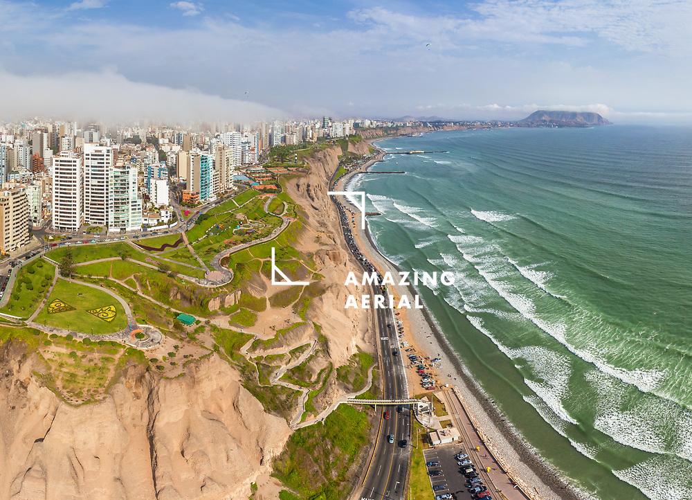 Aerial view of  La Punta district, Lima, Peru