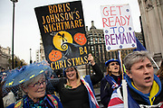 Anti Brexit pro European Union protesters demonstrating in Westminster on 30th October 2019 in London, England, United Kingdom. Brexit is the scheduled withdrawal of the United Kingdom from the European Union. Following a June 2016 referendum, in which 51.9% of participating voters voted to leave. As a General Election is passed through the Commons, Brexit protests intensify outside Parliament the day before the original date of leaving on the 31st.