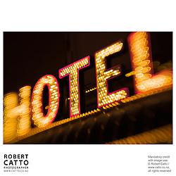 Neon sign reading 'Hotel' at Fremont Street, Las Vegas, Nevada, USA.<br />