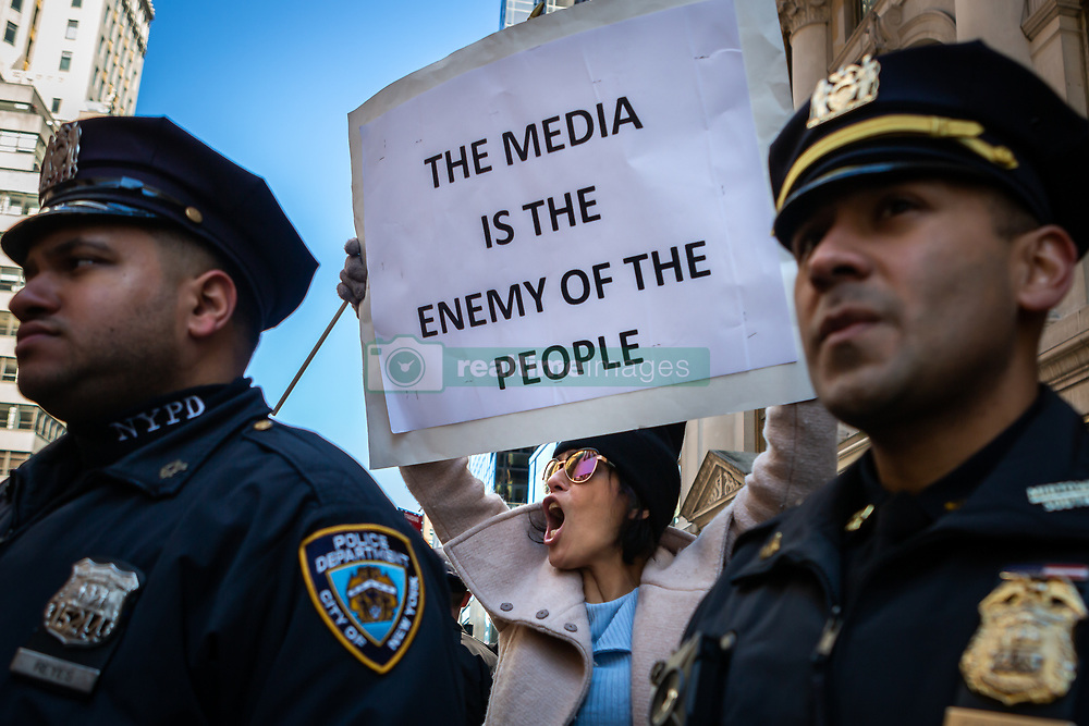 March 23, 2019 - New York, New York, U.S. - Approximately 300 Trump supporters gathered outside Trump Tower in New York City to celebrate the end of the Mueller Probe. (Credit Image: © Michael Nigro/Pacific Press via ZUMA Wire)
