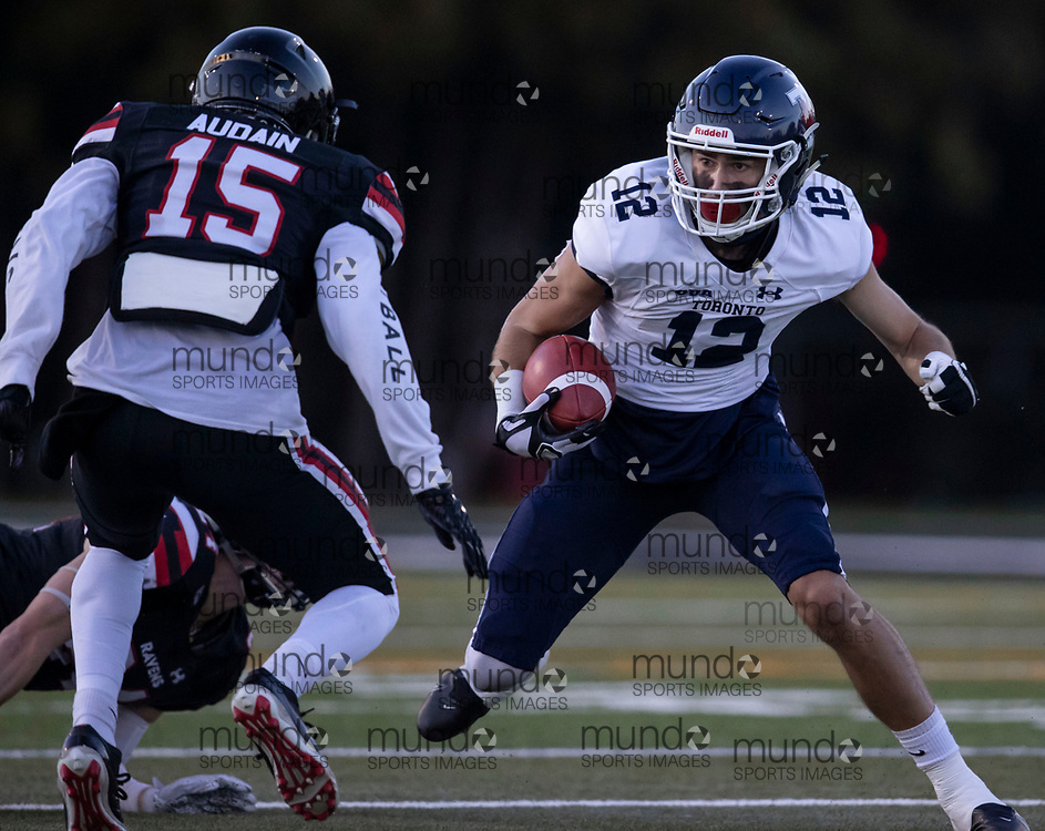 If you post on social media please tag @mundosportimages on Instagram or tag Mundo Sport Images on Facebook.<br /> <br /> (Ottawa, Canada---08 October 2021) Will Corby (12 -- WR) of the University of Toronto Varsity Blues playing in the OUA football game between the Carleton University Ravens and the University of Toronto Varsity Blues at Carleton's Raven's perch stadium.  Photograph 2021 Copyright Sean Burges / Mundo Sport Images
