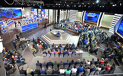 June 15, 2017 - Moscow, Russia - Russian President Vladimir Putin surrounded by an audience listens to a questions during his annual live televised call-in show dubbed A Direct Line With Putin June 15, 2017 in Moscow, Russia. During the show Putin blamed domestic U.S. problems for sanctions imposed on Russia. (Credit Image: © Mikhail Klimentyev/Planet Pix via ZUMA Wire)