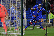 Cardiff City 's Sol Bamba © celebrates with his teammates after he scores his teams 1st goal. EFL Skybet championship match, Cardiff city v Hull city at the Cardiff city stadium in Cardiff, South Wales on Saturday 16th December 2017.<br /> pic by Carl Robertson, Andrew Orchard sports photography.