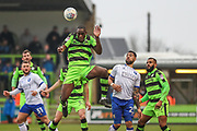 Forest Green Rovers Isaiah Osbourne(34) heads the ball clear during the EFL Sky Bet League 2 match between Forest Green Rovers and Mansfield Town at the New Lawn, Forest Green, United Kingdom on 24 March 2018. Picture by Shane Healey.