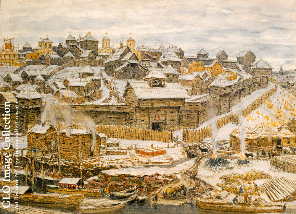 Drawing in watercolor, circa 1900, as memory of the Moscow Kremlin in the 13th Century by artist A.M. Vasnetsov. The Kremlin of the 1300s as it was just emerging as a major commercial center under Ivan I. Kremlin's recorded history had begun 180 years before, when the grand prince of Vladimir built a stockade around an hour post on the Moscow and Neglinnaia Rivers. The painting is in the collection of the Museum of the History and Reconstruction of the City of Moscow. Аполлина́рий Миха́йлович Васнецо́в.