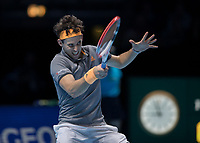 Tennis - 2019 Nitto ATP Finals at The O2 - Day Seven<br /> <br /> Semi Finals: Dominic Thiem (Austria) Vs. Alexander Zverev (Germany)<br /> <br /> Dominic Thiem (Austria) with a forehand return<br /> <br /> COLORSPORT/DANIEL BEARHAM<br /> <br /> COLORSPORT/DANIEL BEARHAM