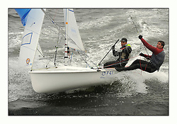 470 Class European Championships Largs - Day 3.Brighter conditions with more wind...SUI7, Olivier GREMAUD, Adrien GREMAUD, Club Nautique Morgien