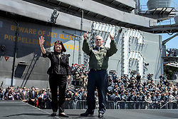 Apr 19, 2017 - Yokosuka, Kanagawa, Japan - Vice President MIKE PENCE and his wife, KAREN PENCE, thank service members on the flight deck of the USS Ronald Reagan in Yokosuka, Japan, April 19, 2017. Navy photo by Petty Officer 2nd Class Nathan Burke. (Credit Image: ? Nathan Burke/DoD via ZUMA Wire/ZUMAPRESS.com)