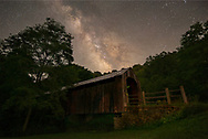 The Milky Way shines above one of the oldest surviving covered bridges in West Virginia at Locust Creek.