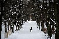 Bialystok, 09.02.2021. Nieskuteczna walka ze sniegiem w Bialymstoku. Firmy, ktore wygraly przetarg na odsniezanie miasta w tym roku, nie wywiazuja sie ze swoich obowiazkow. Glowne ulice stolicy Podlasia od kilku dni pokrywa gruba warstwa lodu i sniegu. Miasto juz po raz drugi nalozylo kary na nierzetelne firmy. N/z Park Zwierzyniecki w zimowej szacie fot Michal Kosc / AGENCJA WSCHOD