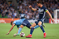 January 26, 2019 - Melbourne, VIC, U.S. - MELBOURNE, AUSTRALIA - JANUARY 26: Melbourne Victory midfielder Carl Valeri (21) competes for the ball at the Hyundai A-League Round 16 soccer match between Melbourne Victory and Sydney FC on January 26, 2019, at AAMI Park in VIC, Australia. (Photo by Speed Media/Icon Sportswire) (Credit Image: © Speed Media/Icon SMI via ZUMA Press)